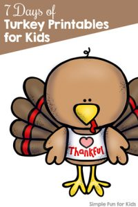Ready for Thanksgiving? Follow along with the 7 Days of Turkey Printables for Kids series for cute, fun, educational printables every day of the week. There's something for everyone: math, literacy, games, and more for preschoolers, kindergarteners, toddlers, and elementary students.