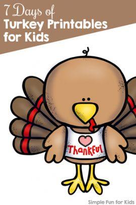 7 Days of Turkey Printables for Kids