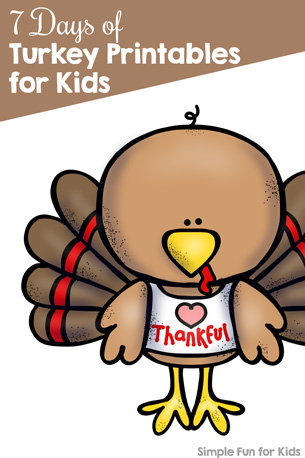 7 Days of Turkey Printables for Kids