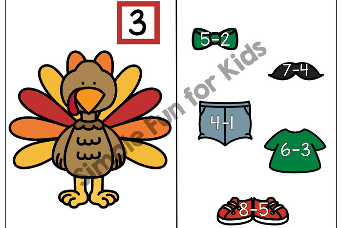 Practice subtraction with a cute turkey paper doll: Dress a Subtraction Turkey (1-3) for kindergarten and first grade. {Part of the 7 Days of Turkey Printables for Kids series.}