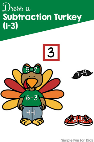 Dress a Subtraction Turkey (1-3) Printable