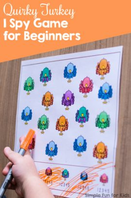 Quirky Turkey I Spy Game for Beginners Printable