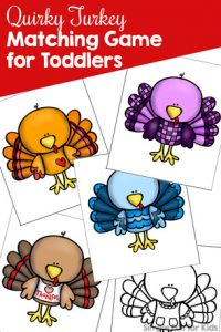 Toddlers love matching! These cute colorful turkeys are fun to look at and talk about, and the cards are the perfect size for little hands: Quirky Turkey Matching Game for Toddlers! B&w and in color. {Part of the 7 Days of Turkey Printables for Kids.}