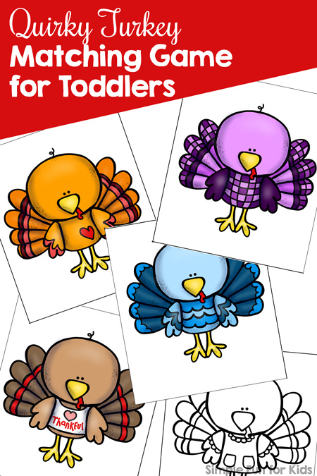 image relating to Turkey Printable referred to as Quirky Turkey Matching Video game for Infants Printable - Basic
