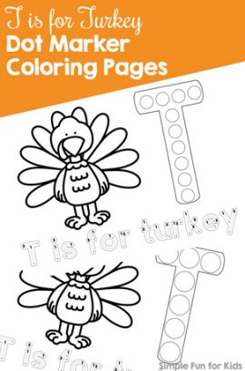 T is for Turkey Dot Marker Coloring Pages Printables