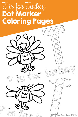 T is for Turkey Dot Marker Coloring Pages