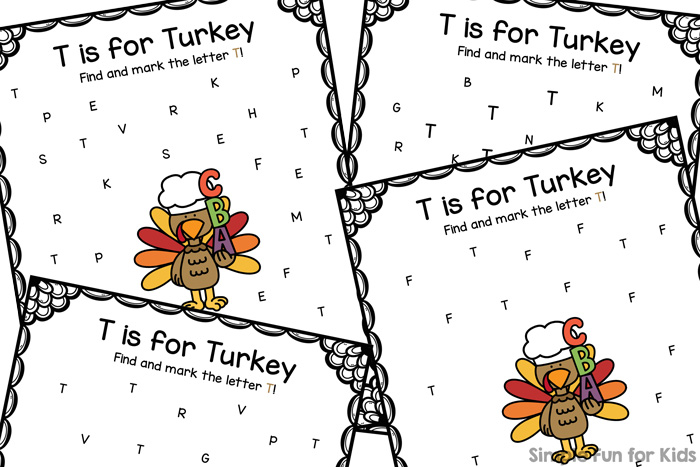 Work on letter recognition of letter T with these cute differentiated T is for Turkey Letter Find Printables for preschoolers and kindergarteners! {Part of the 7 Days of Turkey Printables for Kids.}