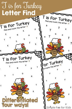 T is for Turkey Letter Find Printable