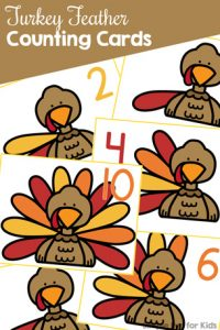 Practice counting and number recognition with these cute Turkey Feather Counting Cards! Toddlers and preschoolers love them. {Part of the 7 Days of Turkey Printables for Kids.}