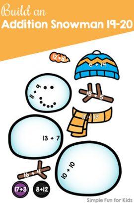 Build an Addition Snowman 19-20 Printable