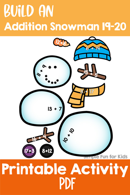Check out a portion of my Build an Addition Snowman printable for free before you buy: Build an Addition Snowman 19-20, perfect for math centers or homeschool for elementary students in kindergarten and first grade!