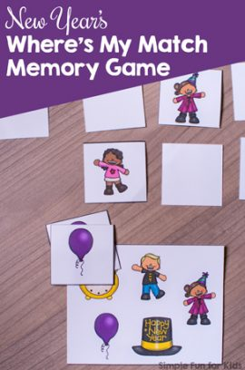 New Year's Where's My Match Memory Game