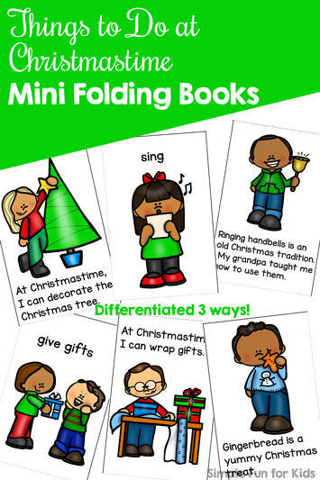 Read about and color different Christmas activities with these cute Things to Do at Christmastime Mini Folding Books! Like to sing carols, eat candy, decorate the Christmas tree or something else? Perfect for preschoolers through first graders with 3 levels of differentiation.