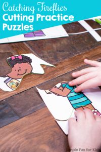 Practice fine motor and cutting skills with these cute spring-themed Catching Fireflies Cutting Practice Puzzles! Differentiated for three skill levels for preschoolers and kindergarteners.