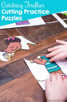 Catching Fireflies Cutting Practice Puzzles Printable