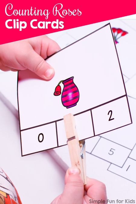 Valentine's counting: These cute printable Counting Roses Clip Cards cover numbers 0 through 10 and include an instruction card. Great fine motor and basic math practice for preschoolers and kindergarteners.