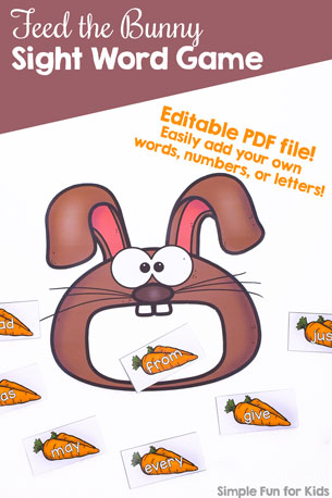 Practice all Dolch sight words or any other learning objective with this cute, editable Feed the Bunny Sight Word Game! Print out the sight words you need or edit the file to include letters, numbers, words, mathematical equations, or whatever else you're working on.