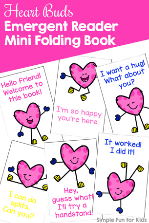 Heart Buds Emergent Reader Mini Folding Book Printable