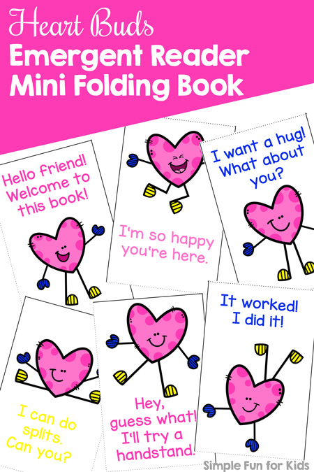 Practice reading with kindergarteners using this cute printable Heart Buds Emergent Reader Mini Folding Book! Easy to assemble and a great size for little hands.