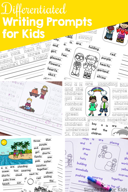 Getting started with writing prompts? These printable differentiated writing prompts for kids offer several levels of support for beginning writers in kindergarten and first grade, including editable versions.