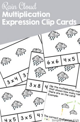 Rain Cloud Multiplication Expression Clip Cards Printable