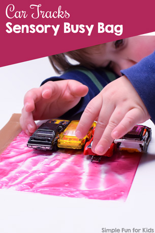 Simple and engaging portable sensory play: Car Tracks Sensory Busy Bag with toy cars and shower gel in a small bag. Fun for toddlers and preschoolers!