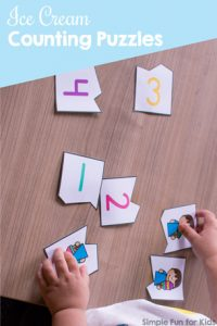 Practice counting up to 10 with these cute printable Ice Cream Counting Puzzles for toddlers and preschoolers. The VIP version includes three different font choices and colored and black and white versions of each.