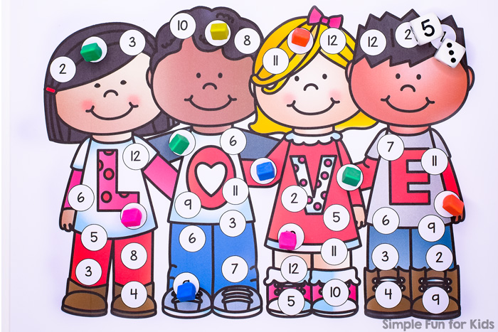 Practice your addition facts with this super cute Valentine's Friends Add, Roll, and Cover Game! No prep required, great for a quick game with kindergarteners and first graders.