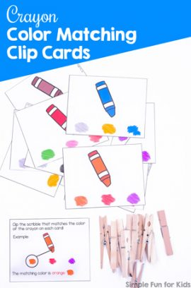 Crayon Color Matching Clip Cards