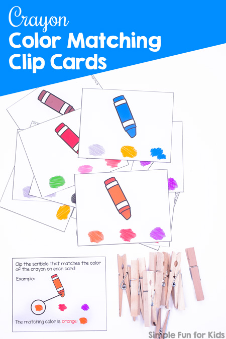 Help your toddler or preschooler learn his or her colors with these cute printable Crayon Color Matching Clip Cards! Great for color recognition and fine motor skills.