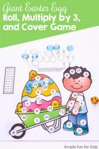 This no prep roll and cover game is perfect for practicing the times 3 multiplication table with third graders: Giant Easter Egg Roll, Multiply by 3, and Cover Game!