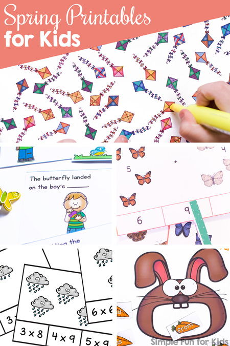 Learn math, literacy objectives like sight words, and more with these 35+ fun, cute Spring Printables for Kids - toddlers, preschoolers, kindergarteners, and elementary students.