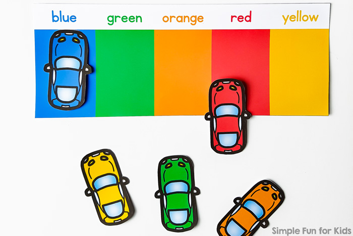Practice and review basic colors with this cute, printable Color Matching Car Park! Your toddler or preschooler is going to love it!