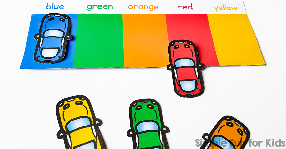 picture relating to Car Printable referred to as Shade Matching Automobile Park - Basic Enjoyment for Little ones