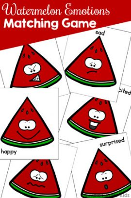 Watermelon Emotions Matching Game for Toddlers