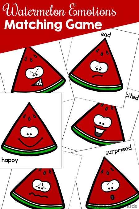 Have fun exploring and discussing basic emotions with toddlers and preschooler with this cute printable Watermelon Emotions Matching Game. Can be played on different levels, from absolute beginners to full memory games.
