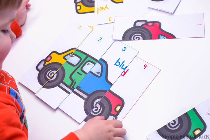 Learn colors and numbers with these simple 4-Piece Colorful Cars Number Puzzles for toddlers and preschoolers. Big pieces perfect for little hands!