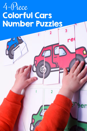 4-Piece Colorful Cars Number Puzzles