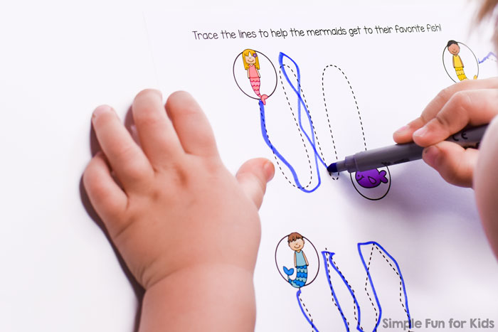 Great fine motor practice: Mermaid Tracing Practice for preschoolers and kindergarteners. No prep, just use a pen or even fingers to trace the lines.