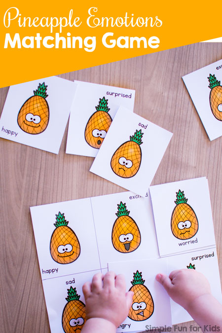 Talk about emotional states such as happy, excited or angry with your toddler or preschooler using this cute, printable Pineapple Emotions Matching Game!