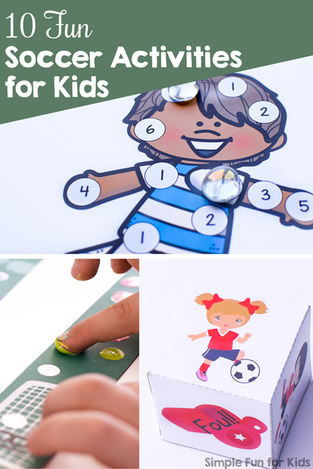 Try these 10 Fun Soccer Activities for Kids - printables, gross motor activites, games, and more for little football fans.