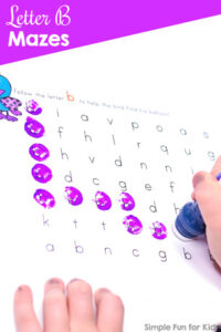 Free alphabet printables for kids: Super cute letter B maze!