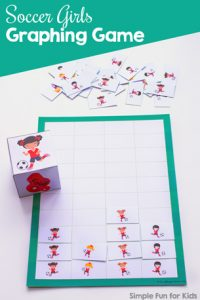 Practice counting and basic graphing with this fun printable Soccer Girls Graphing Game! Great for preschool and kindergarten.