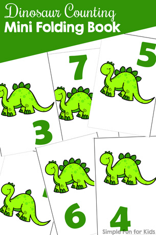 Practice counting and number recognition with preschoolers and kindergarteners with this cute printable Dinosaur Counting Mini Folding Book! VIP members get a choice of three different fonts plus black and white versions.