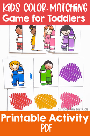 Practicing color recognition is super fun with this cute printable Kids Color Matching Game for Toddlers! You can play three different versions matching colors or images.