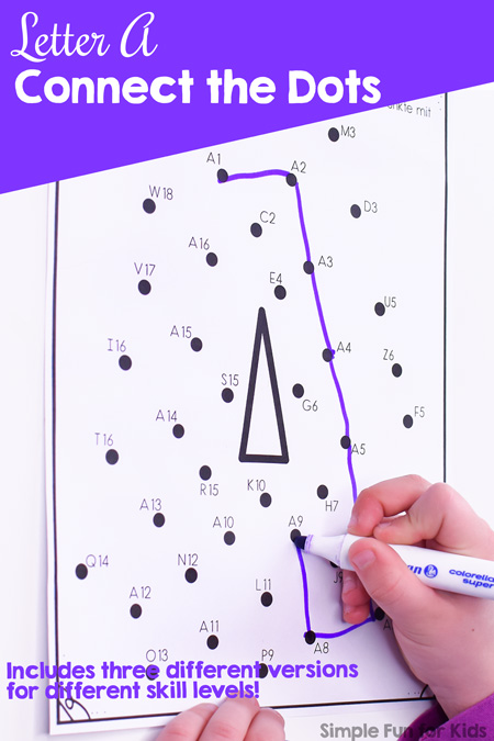 Reinforce letter recognition, practice counting, and improve hand-eye coordination and fine motor skills in a fun way with this no prep Letter A Connect the Dots worksheet. Three levels: Numbers 1-16, letter A plus numbers 1-16, and different letters and numbers.