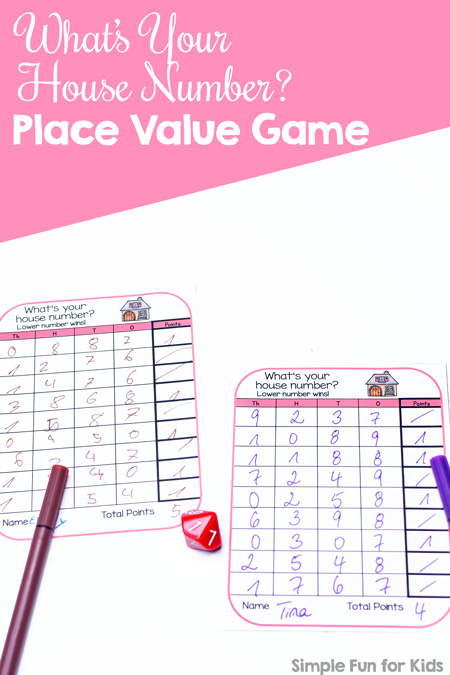 graphic about Printable Place Value Game known as Whats Your Dwelling Selection? Issue Importance Video game - Straightforward Entertaining for Children