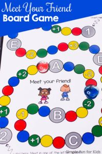 A fun little printable two-person cooperative board game with a little more complicated rules perfect for elementary students: Meet Your Friend Board Game!