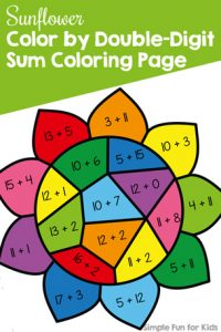 Addition practice to 20 is fun with this Sunflower Color by Double-Digit Sum Coloring Page. Great for kindergarteners and part of the 7 Days of Sunflower Printables for Kids series (day 4).
