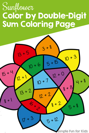 Sunflower Color by Double-Digit Sum Coloring Page